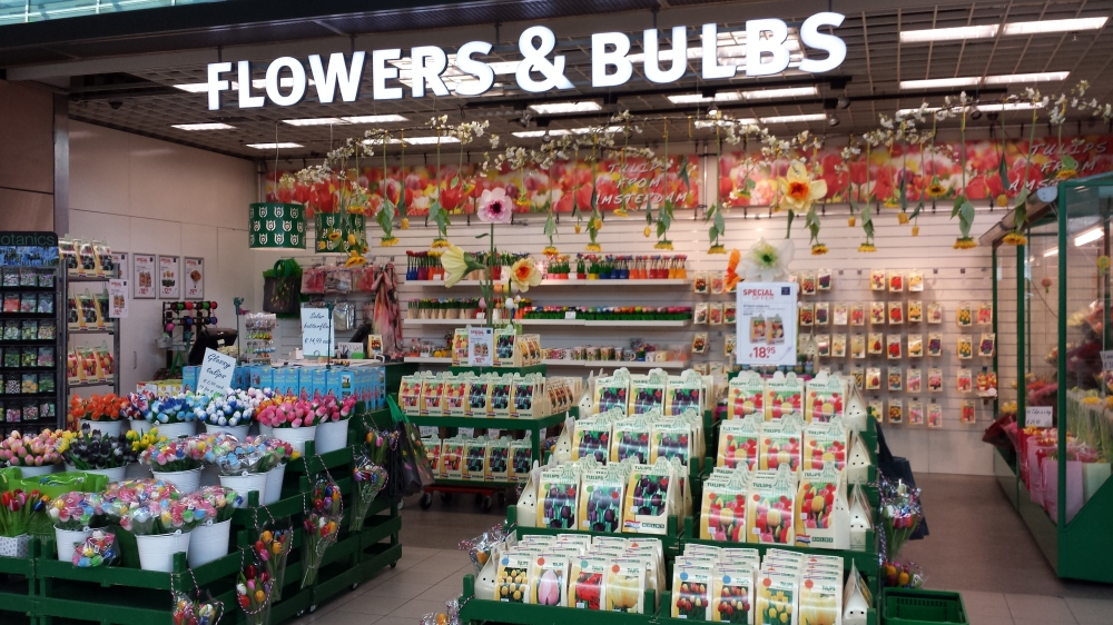 The airport in Amsterdam has many of these little shops where you can buy tulip bulbs and flowers.