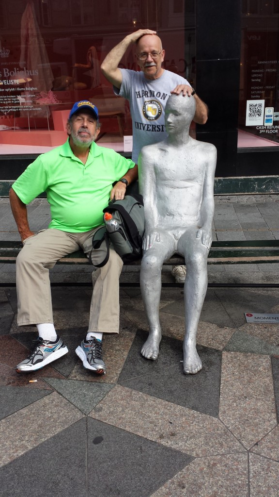This silver guy was friendly, but the quiet type....and very tolerant to put up with these two!
