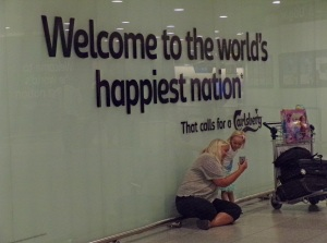 At Copenhagen airport - a very welcoming sign!