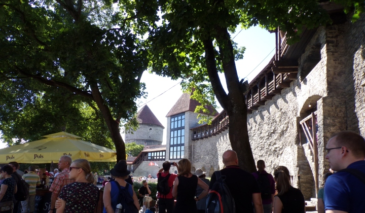 At this point, I was lost and came into this square with a section of the old wall and restaurants.