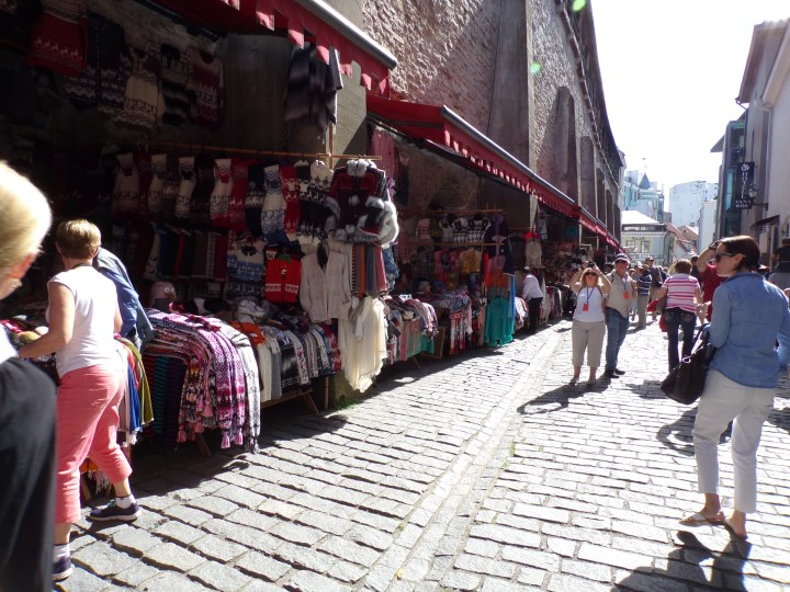 Here's where we did a lot of shopping. Open stalls on the left, against the old town wall, shops on the right.