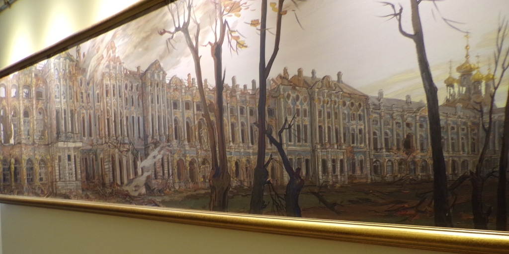 This painting depicts how the palace looked after the Nazis left, having set the interior on fire. The outer walls are standing, but the interior was mostly destroyed.