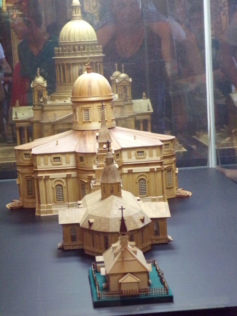 This display case has models of each of the St. Isaac buildings.