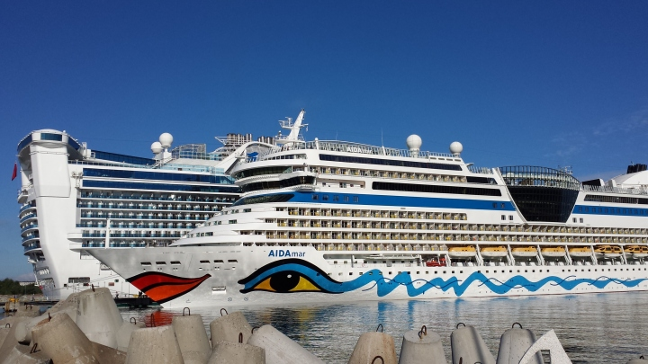Two of the 6 cruise ships docked at Tallinn