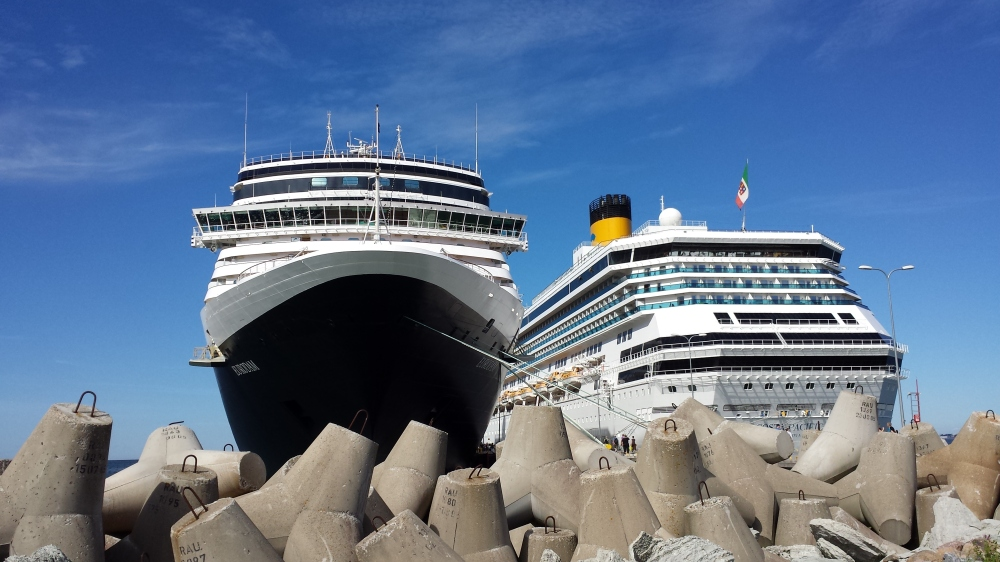 Our ship, the Eurodam, and another cruise ship