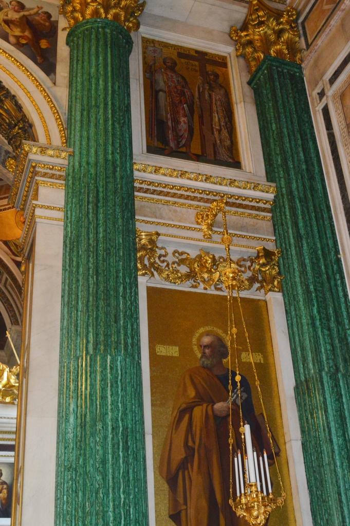 Mosaic malachite columns