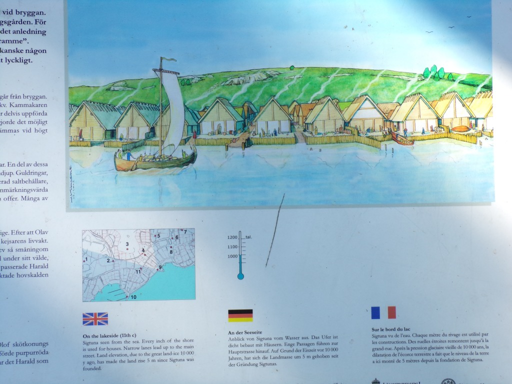 This illustration shows Sigtuna seen from the sea. Every inch of the shore is used for houses.
