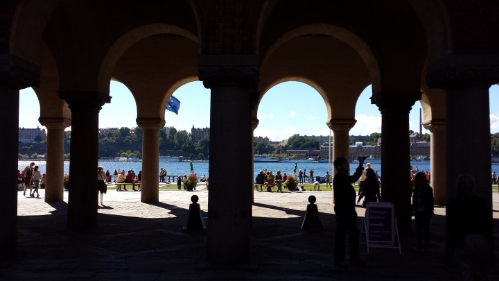 Looking toward the lake through the arches