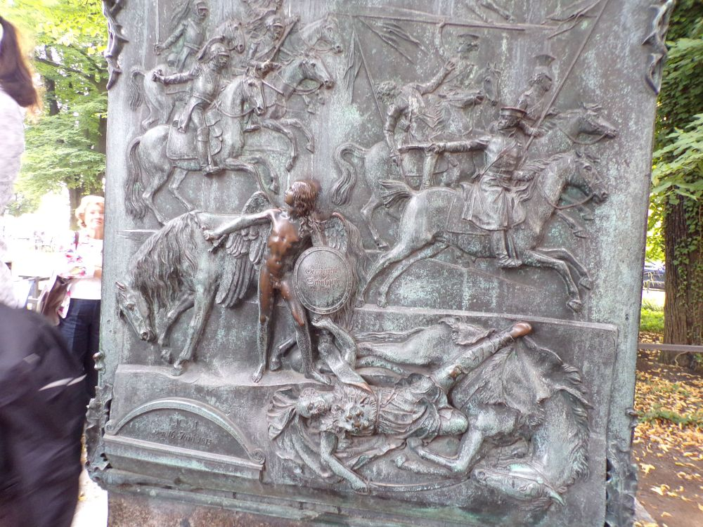 Battle scene with rubbings of guardian angel and von Blucher's foot!