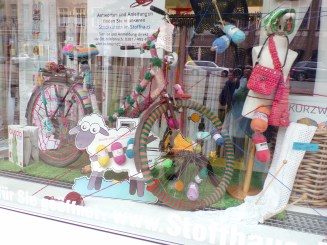 Window display at a yarn shop