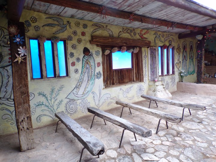 Inside the chapel, showing DeGrazia murals