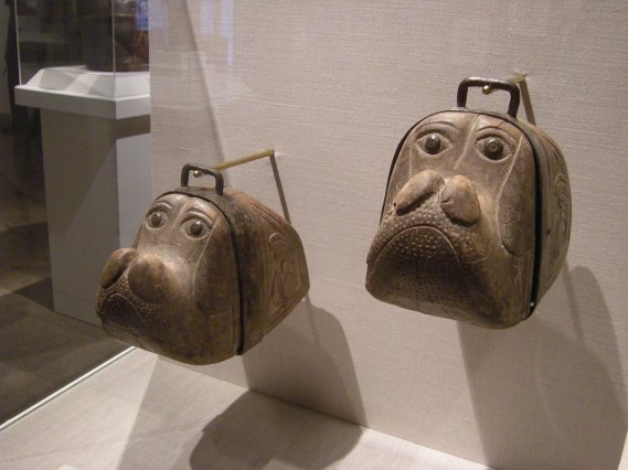 Dog-faced stirrups (wood, late 19th century Bolivia, donated by Peter Cecere)