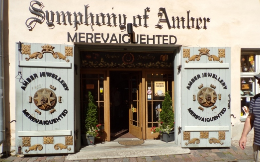 Entrance to a tourist store specializing in amber, Tallinn, Estonia