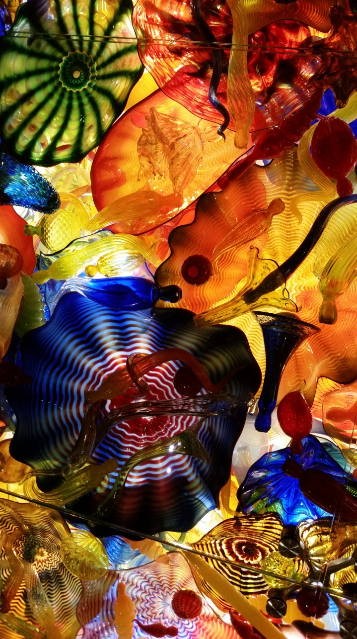 A piece of the Chihuly ceiling, seen from below