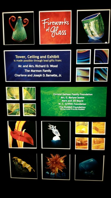 "The poster telling about the Chihuly exhibit, ""Fireworks of Glass""."