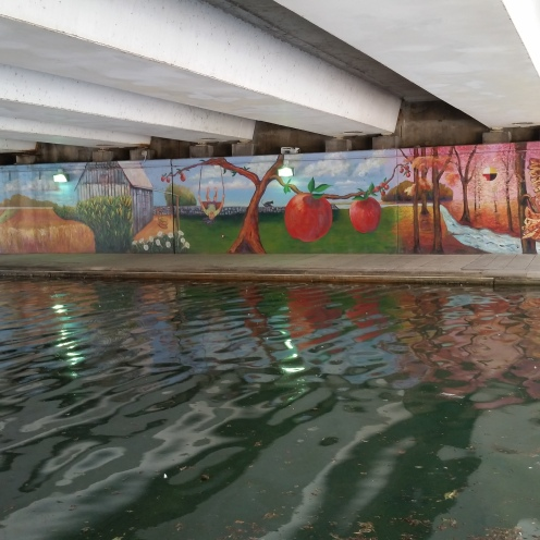 Murals were painted under the bridges. In some places, the canal is quite polluted.