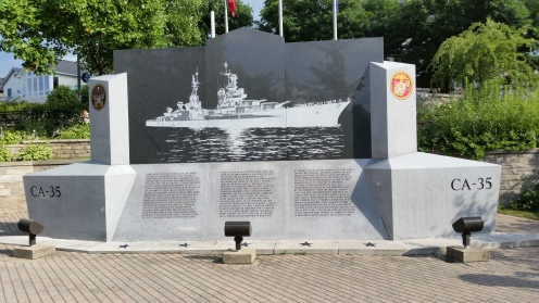 USS Indianapolis Memorial. The story is told on the bottom half of the memorial but I obtained a brochure and read the harrowing story of this ship. It was the last of its class to be deployed in WWII. 1,196 people were on board, only 318 survived.