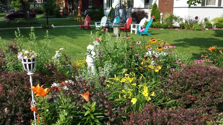Front yard at corner of Prairie & Laurel