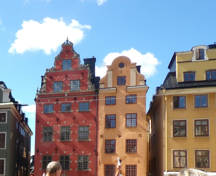 The leaning houses in Stortorget square - the yellow one leans 90 cm!