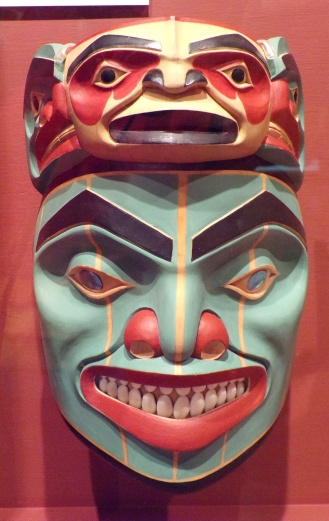 Kaats, The Man Who Married a Bear. Tlingit-style mask, 2006 by Norman Jackson, Tlingit
