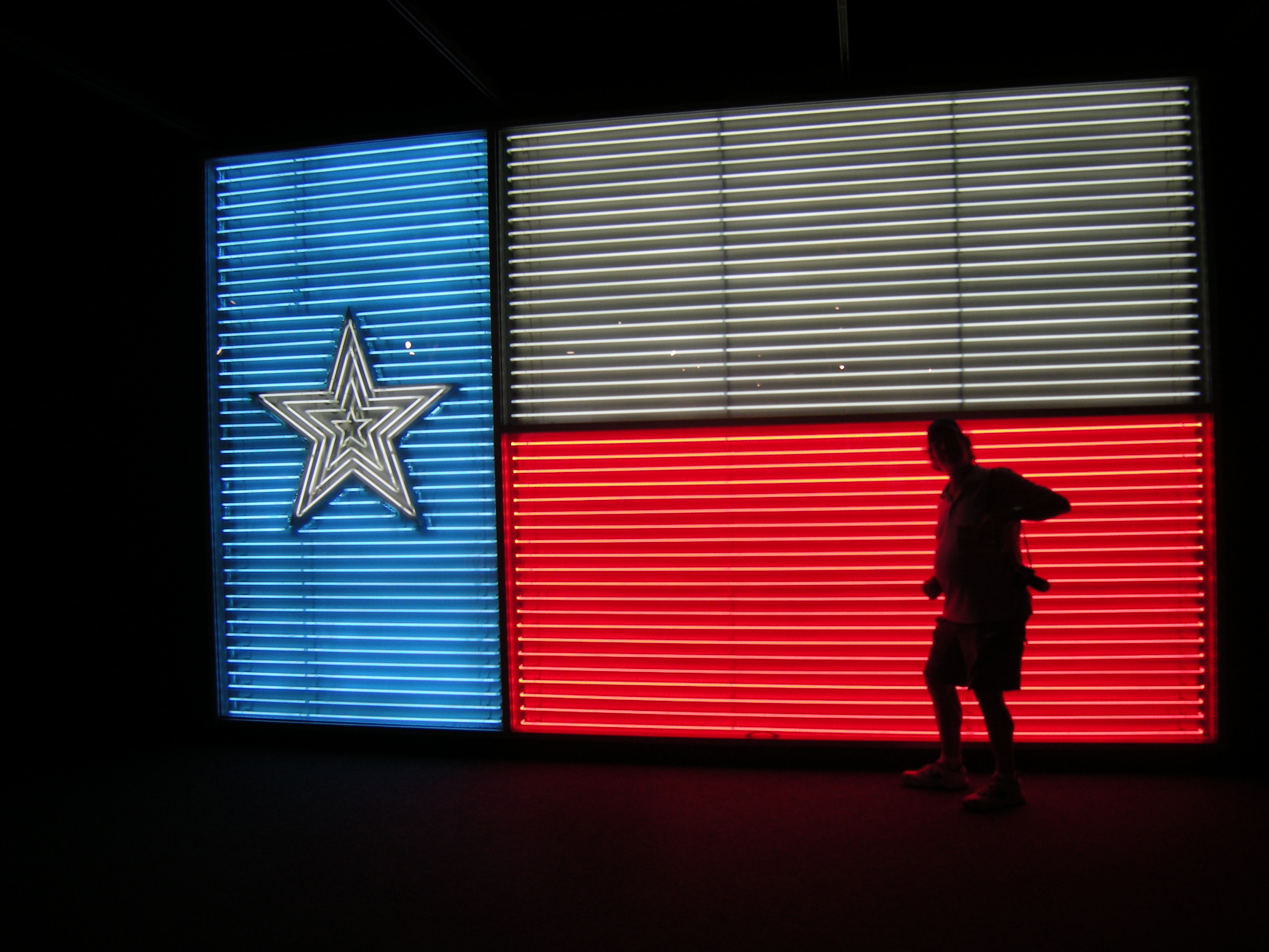 Dale's silhouette in front of a neon Texas flag!