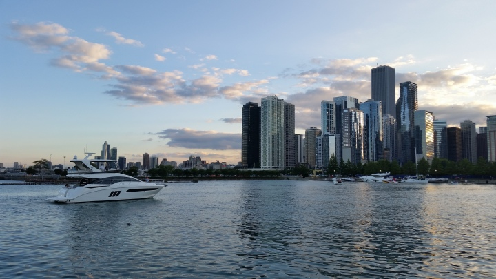 Chicago skyline with yacht on the lake