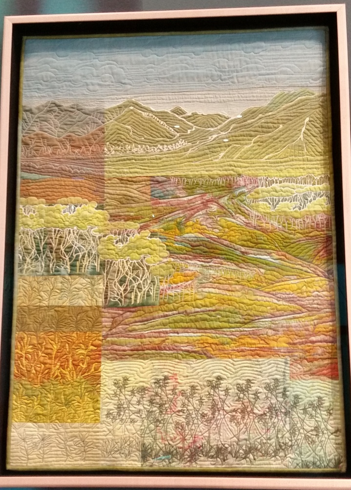 """""""Mountains and Willows in Fall"""" (2009)- fabric art quilt by Ree Nancarrow"""