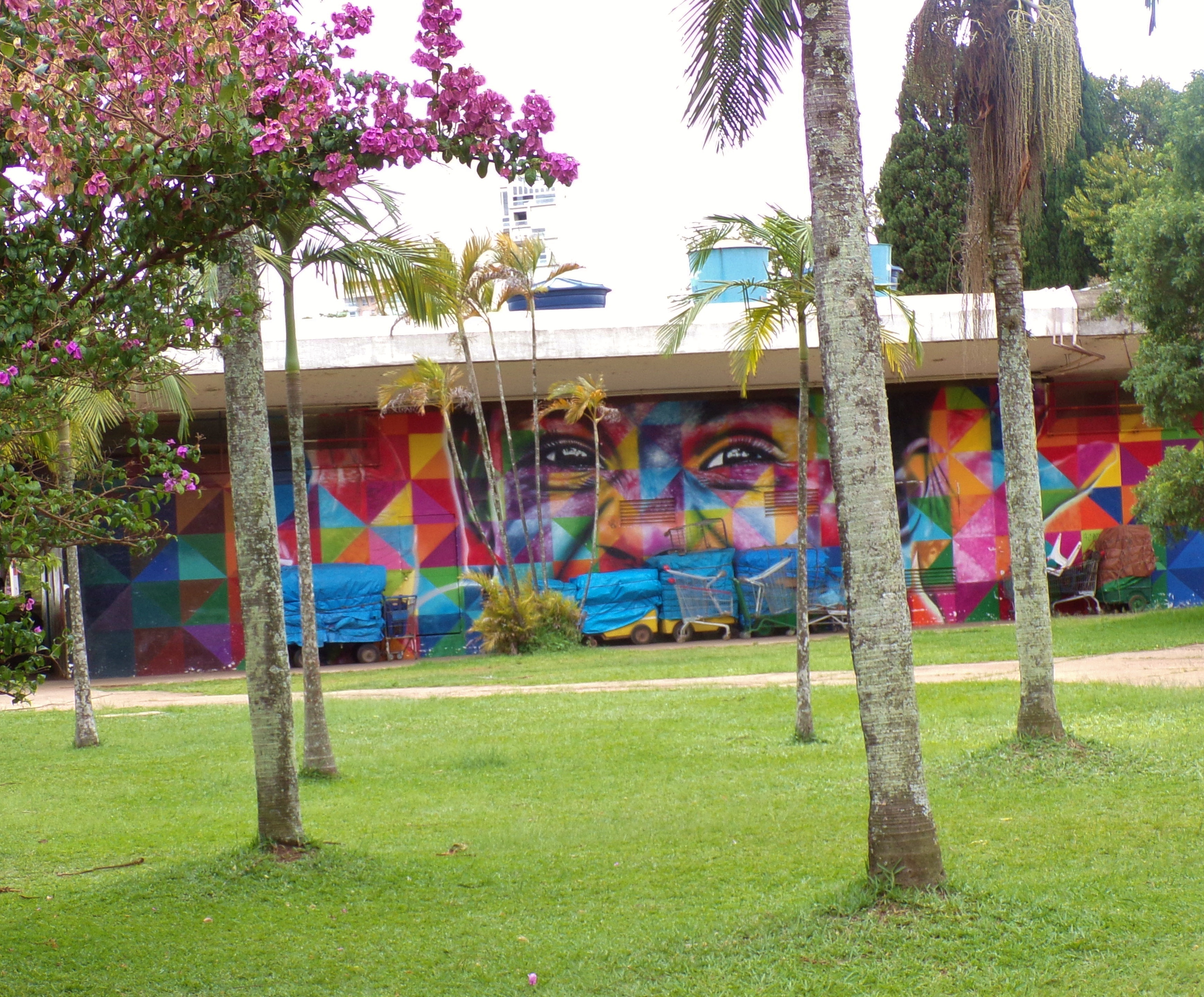 Mural behind palm and flowering trees