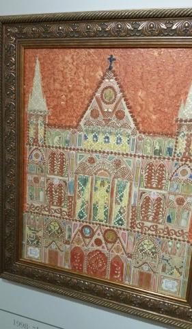 "J. Cesar, ""Igreja da Sagrada Familia"", 1967, papel renda gauche e cola sobre tela"