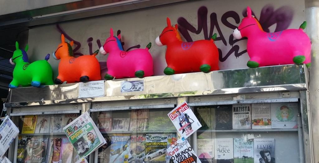 Merchandise at a newsstand on Av. Paulista, SP