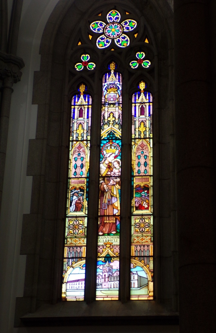 Beautiful stained glass window at the Metropolitan Cathedral of Sao Paulo
