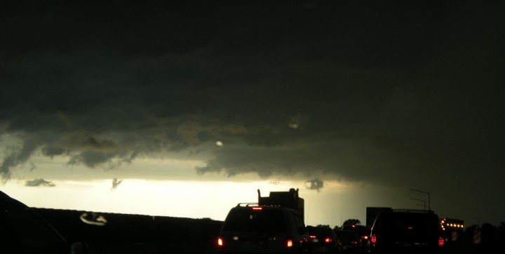 Vehicles on I-90 as the storm approaches.
