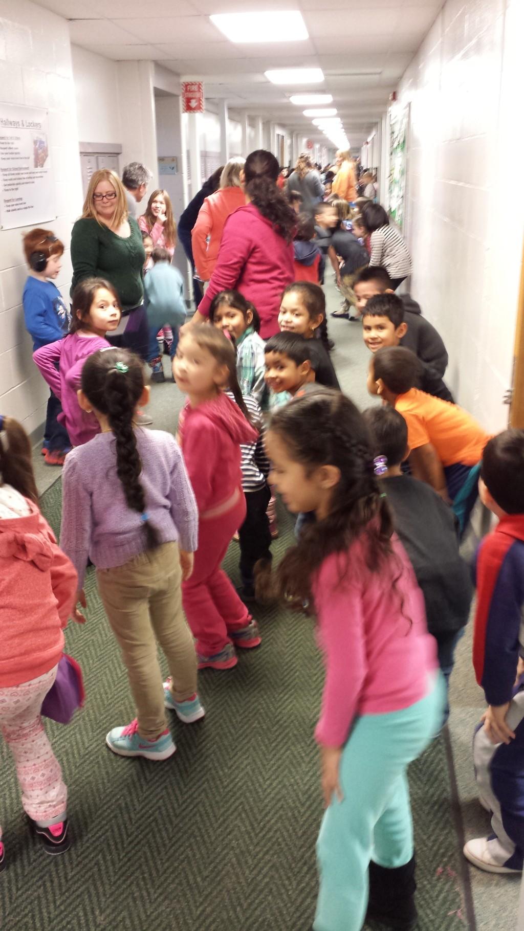 Kindergartners & special ed students dancing in the hallway (PBIS celebration)