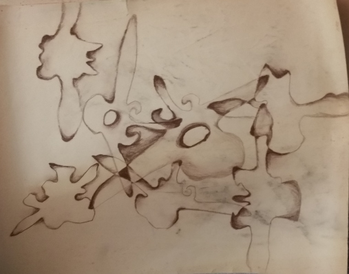 vertebrae collage (colored pencil)