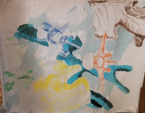 Vertebrae collage (colored pencil with watercolor wash)
