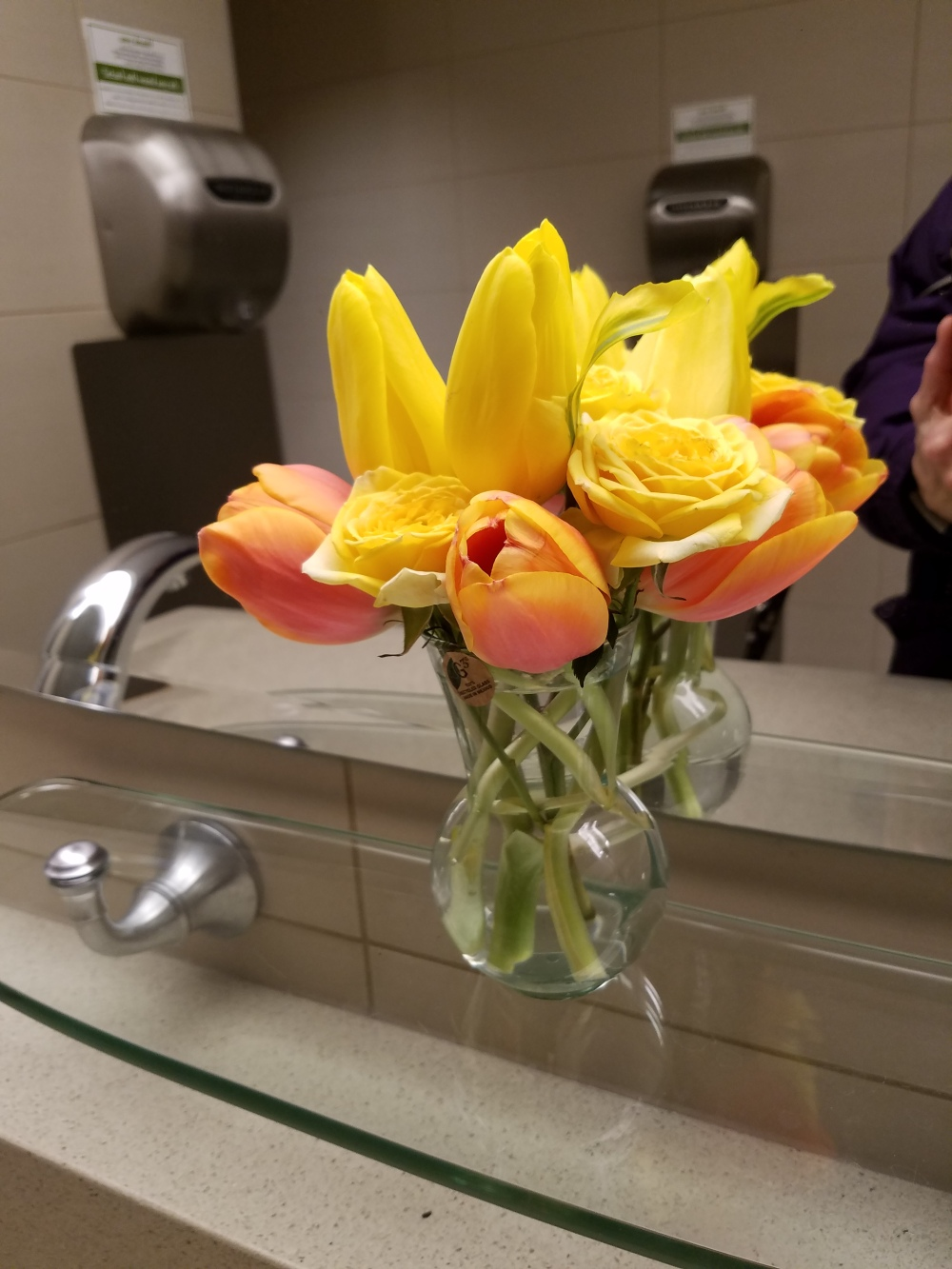 Bouquet in restroom at Mariano's