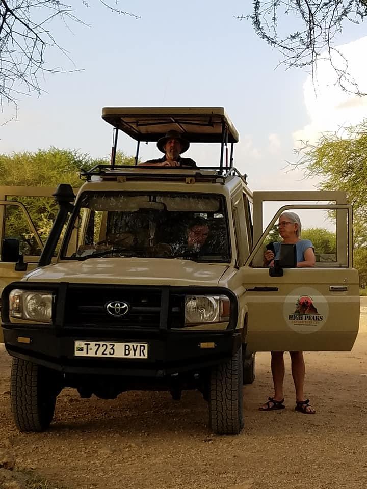 2-5 Sue & Dale at vehicle-Tarangire