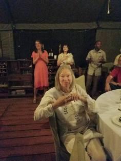 2-12 Holly, Julie & Anne enjoy music at Ang'ata Camp
