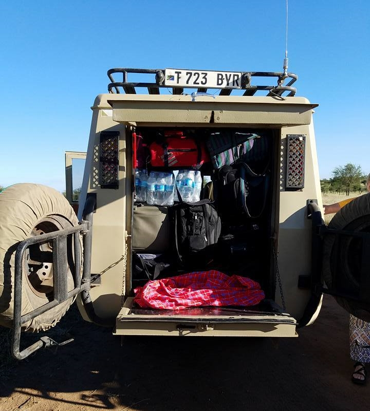 2-13 Toyota Land Cruiser loaded with luggage