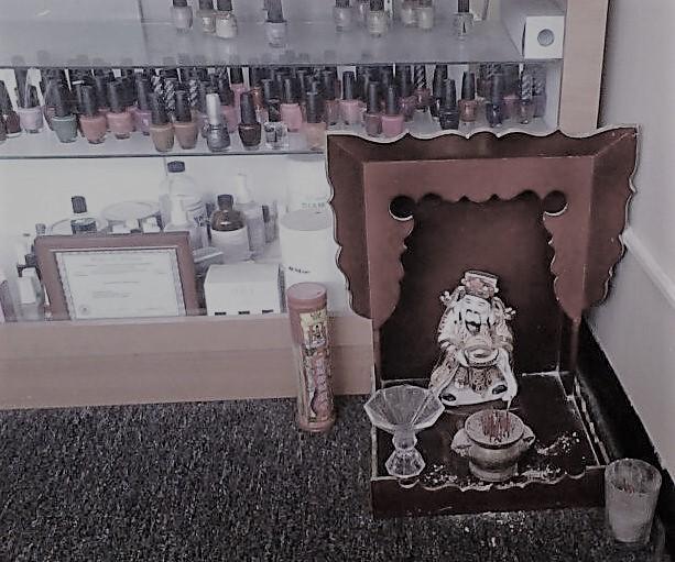 Religious shrine at nail salon 5-15-10