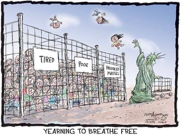 Yearning to breathe free=cartoon