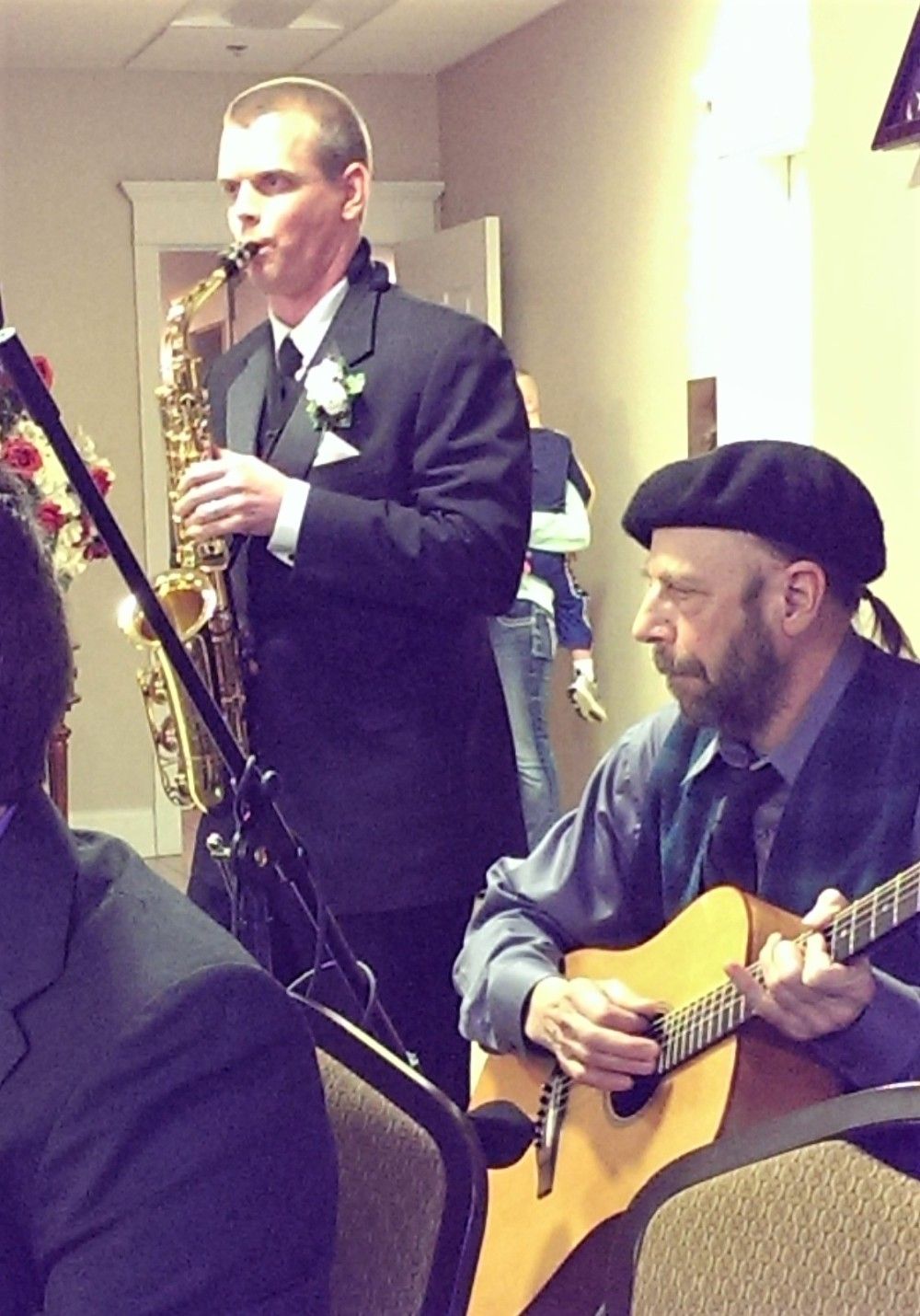 Tom on sax & Alicia's dad on guitar for Amazing Grace