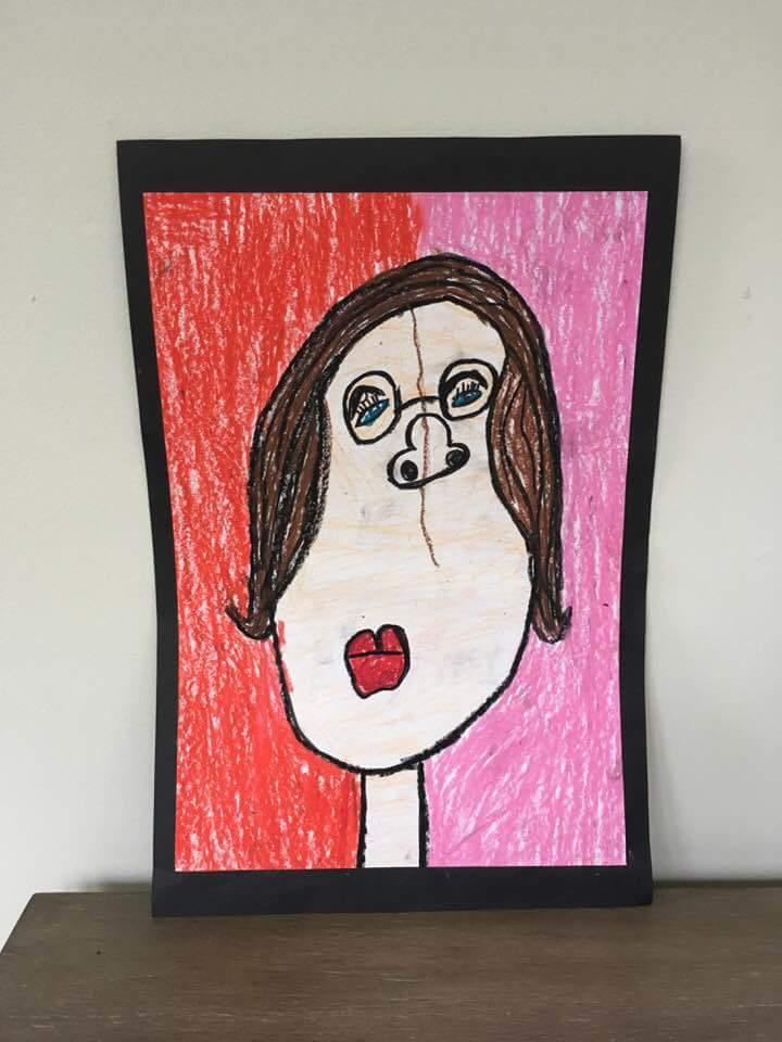 Ben's portrait of his mom-1st grade