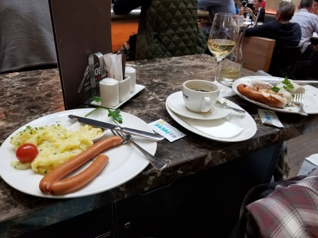 We each ordered a different type of sausage!