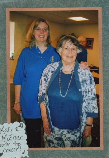 Katy & Mother at Cedar Crest (FCCDP's Chancel Choir went to Janesville to perform at CC and at two local churches).