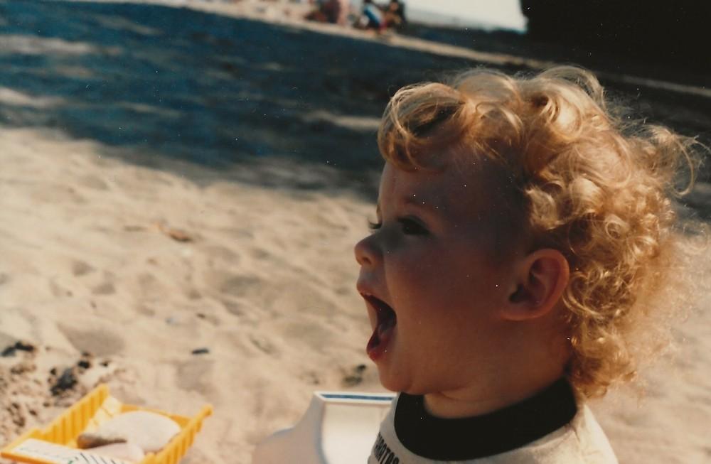 Jayme at beach in Milwaukee c1986