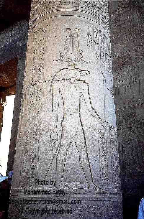 Kom Ombo (10)-Sobek on pillar
