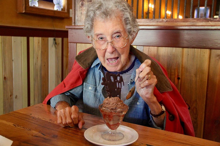 old person eating ice cream