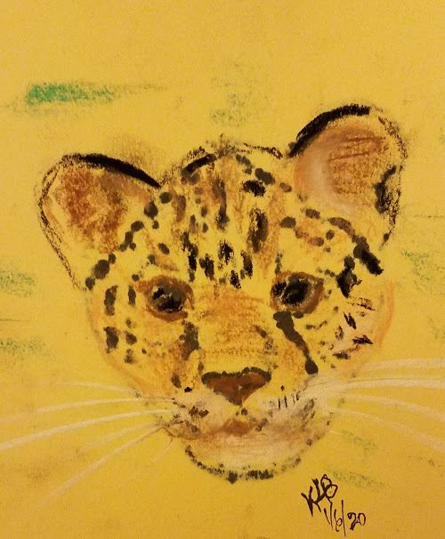 20200106_210628 Leopard cub head - pencil, sharpie and pastels on yellow construction paper