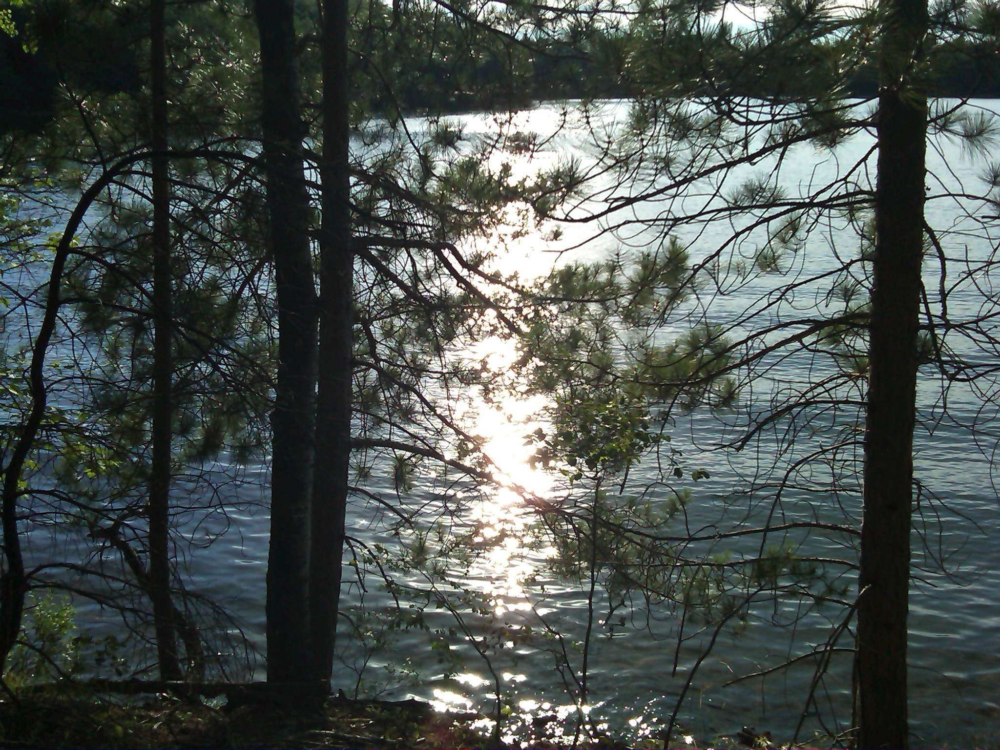 Late afternoon sunlight shimmers on South Blue Lake-Bearskin Trail